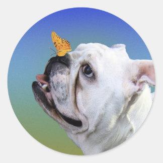 犬および蝶 ラウンドシール