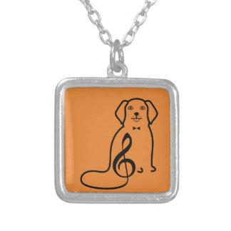 犬および音楽ノート シルバープレートネックレス
