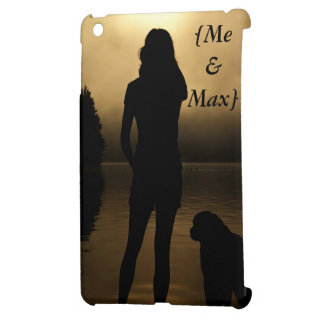 犬およびwoman湖のシルエット iPad mini カバー