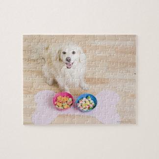 犬が付いている2つのボールの前の雑種のモデル ジグソーパズル