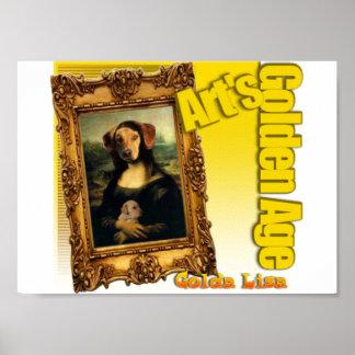 犬としてモナ・リザ- GOLDA LEASHA-のゴールデン・リトリーバー ポスター