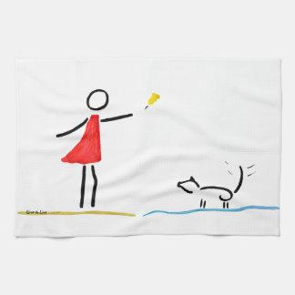 犬と遊ぶこと キッチンタオル