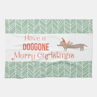 犬によって行くメリークリスマス キッチンタオル