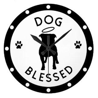 """""""犬によって賛美される""""ピット・ブルの天使の柱時計 ラージ壁時計"""