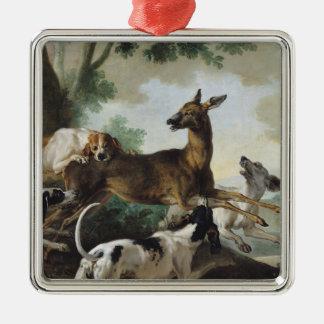 犬によって追跡されるシカ1725年 シルバーカラー正方形オーナメント