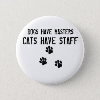 犬にマスター猫がスタッフの円形ボタンがあるのをあります 缶バッジ