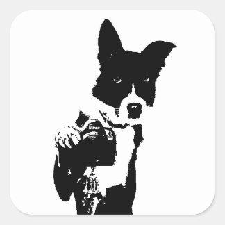 犬のカメラマン スクエアシール