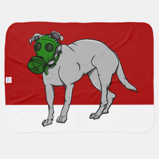 犬のガスマスクを身に着けている犬 ベビー ブランケット