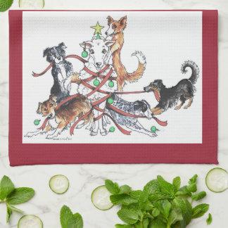 犬のクリスマスの台所タオルを集めること 台所タオル