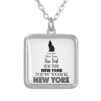 、犬のコヨーテ遠ぼえする、ニューヨークオオカミ- I愛NY シルバープレートネックレス