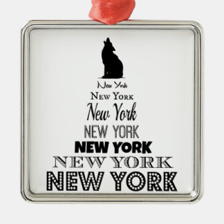 、犬のコヨーテ遠ぼえする、ニューヨークオオカミ- I愛NY メタルオーナメント
