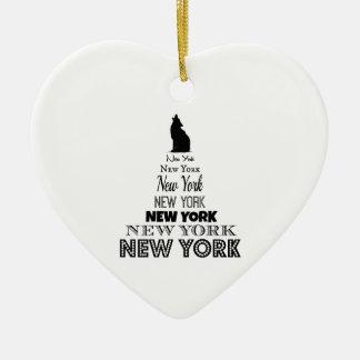 、犬のコヨーテ遠ぼえする、ニューヨークオオカミ- I愛NY 陶器製ハート型オーナメント