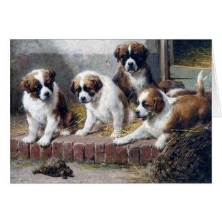 犬のサンベルナール峠の子犬のカメの農場 カード