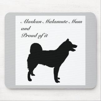 犬のシルエットのアラスカンマラミュートのミイラ マウスパッド