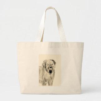 犬のスケッチ ラージトートバッグ