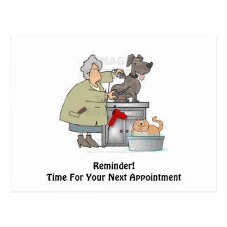 犬のトリマーの次のアポイントメントの郵便はがき ポストカード