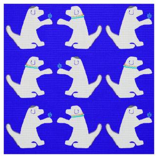 犬のハヌカーの青および白い生地 ファブリック