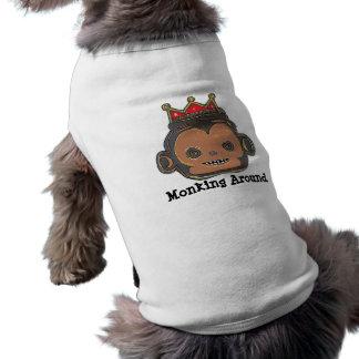 犬のワイシャツのまわりのMonking ペット服