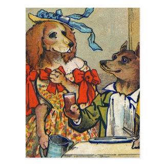 犬のヴィンテージをディナードレス ポストカード