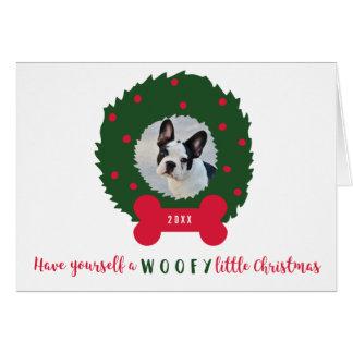 犬の写真及びリースを持つおもしろいなクリスマス犬 カード