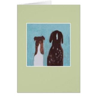 犬の友人-緑 グリーティングカード