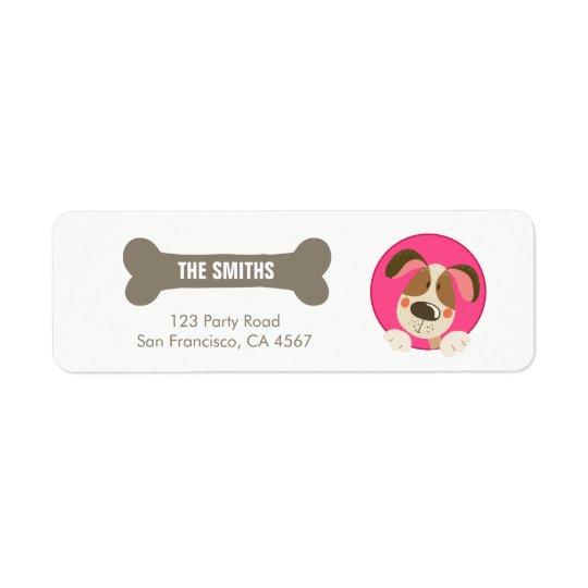 犬の子犬の宛名ラベルの足tyの誕生日の女の子のピンク 返信用宛名ラベル