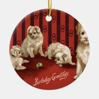 犬の子犬の誕生日の挨拶 セラミックオーナメント