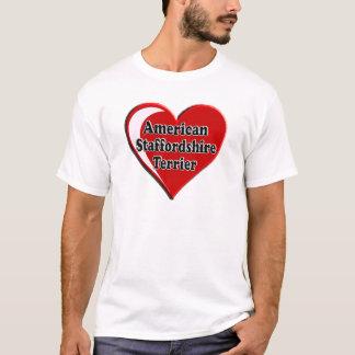 犬の恋人のためのアメリカ(犬)スタッフォードテリアのハート Tシャツ