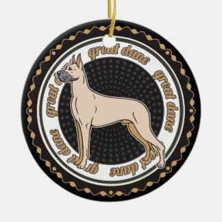 犬の恋人のグレートデーン犬 セラミックオーナメント