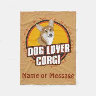 犬の恋人のコーギー毛布は名前/メッセージをカスタマイズ フリースブランケット