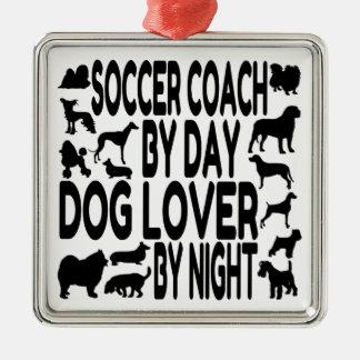 犬の恋人のサッカーのコーチ メタルオーナメント