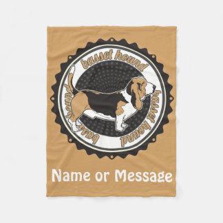 犬の恋人のバセットハウンド毛布の名前をカスタムする フリースブランケット