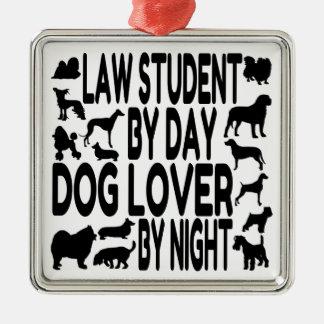 犬の恋人の法科の学生 シルバーカラー正方形オーナメント