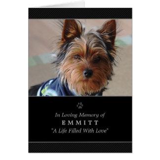 犬の悔やみや弔慰のカスタムな写真の記念カード-黒 カード