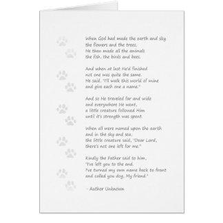 犬の悔やみや弔慰カード-前部の犬の詩 カード