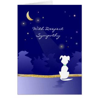 犬の悔やみや弔慰カード-月および星 グリーティングカード