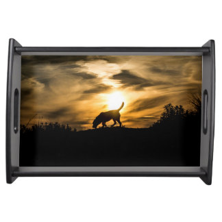 犬の日没の皿 トレー
