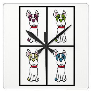 犬の時計-ボストンテリア スクエア壁時計