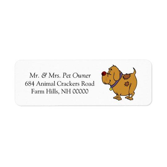 犬の漫画の差出人住所郵便はステッカーを分類します 返信用宛名ラベル