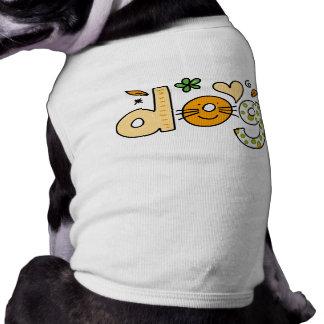犬の漫画の白いペット骨があるタンクトップ ペット服