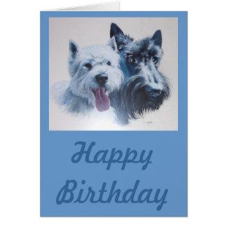 犬の芸術:  スコッチテリア及びWestieのバースデー・カード グリーティングカード