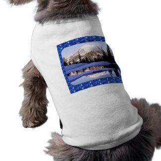 犬の衣類Mt Rainerの青いグリッターのボーダー ペット服