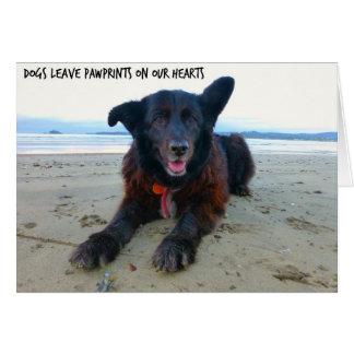 犬の許可PawPrints -犬の挨拶状 カード