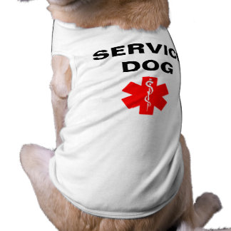 犬の赤い医学の注意深い記号のTシャツタンクを整備して下さい ペット服