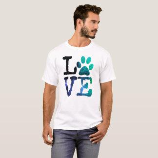 犬の足のプリントのワイシャツとの愛、 Tシャツ