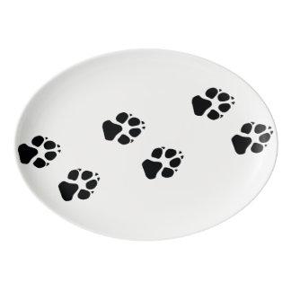 犬の足のプリント 磁器大皿