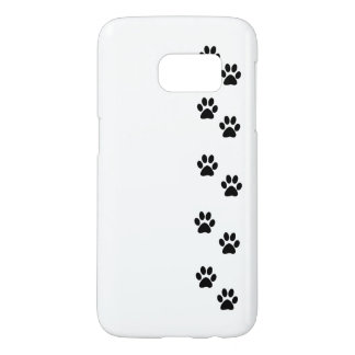 犬の道、犬の足を搭載するパターン-白い黒 SAMSUNG GALAXY S7 ケース
