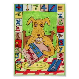 犬の食べ物の数学の宿題の小型民芸 ポスター