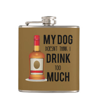 犬の飲み物たくさんの黒および金ゴールドのフラスコ フラスク