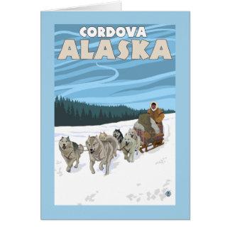 犬のSledding場面- Cordova、アラスカ カード